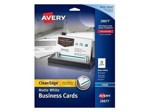 avery twoside printable clean edge business cards for inkjet printers, white, matte, pack of 120 28877