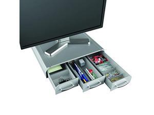 mind reader pc, laptop, imac monitor stand and desk organizer, silver