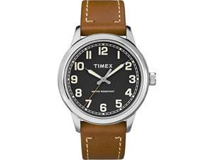 timex men's tw2r82100 new england brown/black leather strap watch