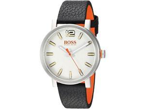 hugo boss men's 'bilbao' quartz stainless steel and leather casual watch, color black model: 1550035