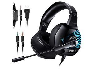 onikuma ii gaming headset for ps4, xbox one, pc, nintendo switch, overear noise cancelling headphones with soft memory earmuffs, 7.1 surround sound, volume/mic control, led light for laptop mac