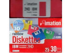 "imation 3 1/2"" bulk diskettes, ibmr format, ds/hd, rainbow, box of 30"