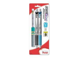pentel energize automatic pencil with lead and erasers, 0.7mm, assorted, 2 pack pl77lebp2