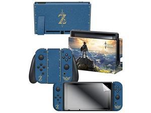 """nintendo switch skin & screen protector set, officially licensed by nintendo  the legend of zelda breath of the wild """"the legend of zelda"""""""