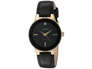 armitron women's 75/5410bkgpbk diamondaccented goldtone and black leather strap watch