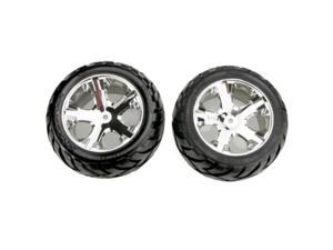 pair Traxxas 3771A Alias Ribbed Tires Pre-Glued on 2.8 All-Star Black Chrome Wheels front