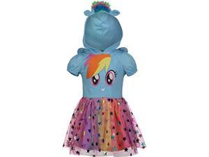 my little pony rainbow dash toddler girls' costume dress with hood and wings, blue 5t