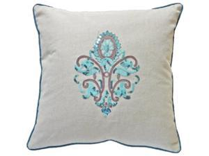 """decorative sequins designer's graphic symbol with piping throw pillow cover 18"""" blue"""