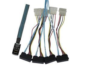 cabledeconn sff8643 internal mini sas hd to 4 29pin sff8482 connectors power port 12gb/s cable 1m