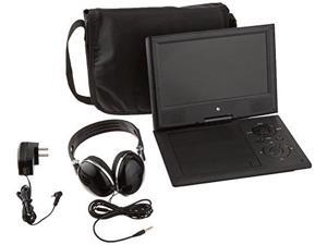 ematic portable dvd player with 9inch lcd swivel screen, travel bag and headphones, black
