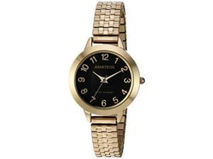 armitron women's 75/5562bkgp easy to read dial goldtone expansion band watch