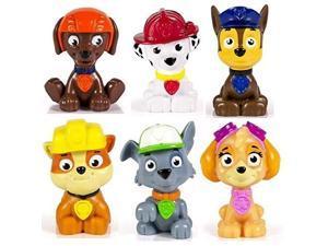 kids paw patrol mini figures set of 6  rocky, zuma, skye, rubble, marshall & chase