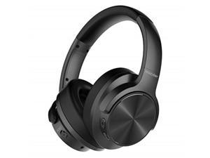 mixcder e9 wireless active noise cancelling headphones dual 40mm drivers, bluetooth csr, comfortable protein earpads, 30 hours battery life, black