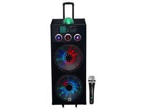 "NYC Acoustics N215B Dual 15"" 800w Powered DJ Party Speaker Bluetooth, Lights+Mic"