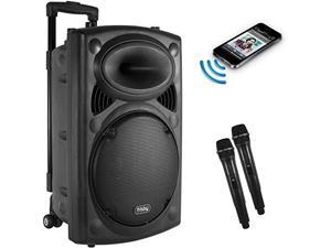 frisby fs4050p portable rechargeable bluetooth karaoke party machine pa speaker system w/ telescoping handle & wheels & 2 wireless microphones echo & am/fm radio & usb & sd slots