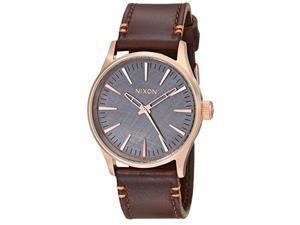 nixon men's a3772001 sentry 38 leather watch