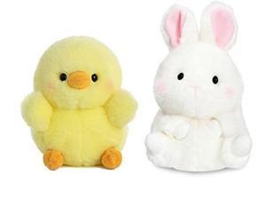 "aurora bundle of 2 5"" beanbag stuffed animals: chickadee chick and bunbun bunny"