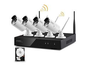 xmartO 4 Channel 960p HD Wireless Security Camera System Outdoor with 1TB Hard Drive, Auto-Pair, Dream Liner WiFi Relay Tech, NVR with Built-in WiFi Router and 80ft IR Night Vision