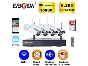 evergrow h.265 wireless home security cameras system, 4 channel network ip nvr, 1tb hard drive, 4 hd 2.0mp 1080p wireless weatherproof indoor outdoor surveillance wifi cameras with 100ft night vision