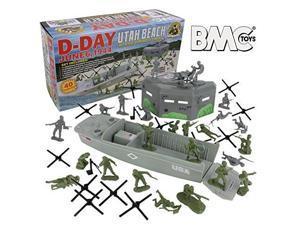 bmc ww2 dday plastic army men  utah beach 40pc soldier figures playset