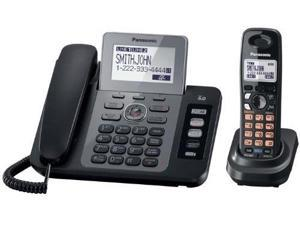 panasonic kxtg9471b 2line corded/cordless phone with digital answering system and contact sync, black, 1 handset