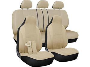 oxgord car seat cover  poly cloth solid beige with front low bucket and 5050 or 6040 rear split bench  universal fit for cars, truck, suv, van  10 pc complete set