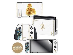 "controller gear nintendo switch skin & screen protector set officially licensed by nintendo  the legend of zelda: breath of the wild: ""princess zelda""  nintendo switch"