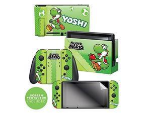 "controller gear nintendo switch skin & screen protector set, officially licensed by nintendo  super mario evergreen ""yoshi eggs""  nintendo switch"