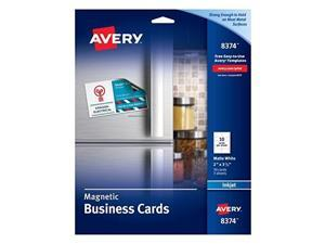 avery 8374 magnetic business cards, 2 x 3 1/2, white, 10 cards per sheet pack of 30 cards