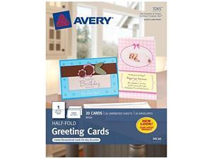 avery greeting cards, inkjet printers, 20 greeting cards and envelopes, 5.5 x 8.5, folded 3265