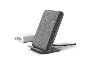 iottie ion wireless fast charging stand charger qicertified 7.5w for iphone xs max r 8 plus 10w for samsung galaxy s10 e s9 s8 plus edge, note 9 includes usb c cable  ash