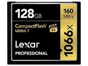 lexar professional 1066 x 128gb vpg65 compactflash card up to 160mb/s read w/free image rescue 5 software lcf128crbna1066