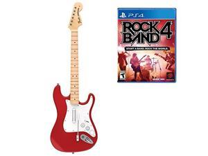 mad catz rock band 4 wireless fender stratocaster guitar controller and software bundle for playstation 4  red