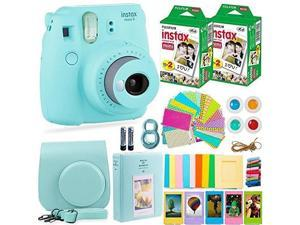 fujifilm instax mini 9 camera with fuji instant film 40 sheets & accessories bundle includes case, filters, album, lens, and more