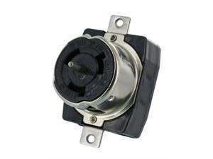leviton cs8169 50 amp, 3py, 480 volt ac, black and white locking flush mount receptacle, industrial grade, grounding, californiastyle, black
