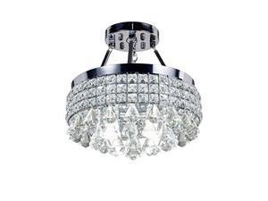 diamond life 4light chrome finish round metal shade crystal chandelier semiflush mount ceiling fixture
