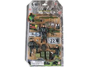 click n' play military ranger action figure 18 piece accessory play set.