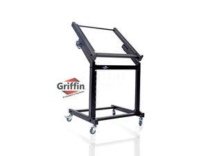 Rack Mount Rolling Stand & Adjustable Mixer Platform Rails by GRIFFIN   19U Cart Holder for Music Studio Booth Pro Audio Recording Cabinet   Stage Equipment DJ Gear Storage Case for Amplifier, Effects
