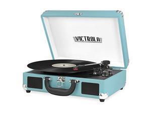victrola vintage 3speed bluetooth suitcase turntable with speakers, aqua turquoise