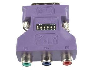 oem ati dvii to 3 rca female component hdtv video adapter model 6140016400 w/ dip switches by ati