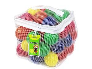 click n' play pack of 50 phthalate free bpa free crush proof plastic ball, pit balls  6 bright colors in reusable and durable storage mesh bag with zipper
