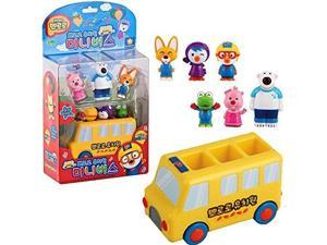 pororo & friends kindergarten mini bus & 6 pcs character figures toy set / school bus toy /sound voice led effect gift toy