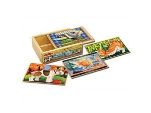 melissa & doug pets jigsaw puzzles in a box four wooden puzzles, sturdy wooden storage box, 12piece puzzles, 8 h x 6 w x 2.5 l