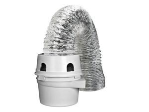 dundas jafine tdidvkzw indoor dryer vent kit with 4inch by 5foot proflex duct, 4 inch white