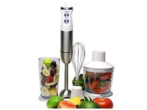 Ovente Multi Purpose Immersion Hand Blender Set 500 Watts with 6 Speeds Control and 3 Premium Attachments including BPA-Free Food Processor, Egg Whisk, and Mixing Beaker, White (HS685W)