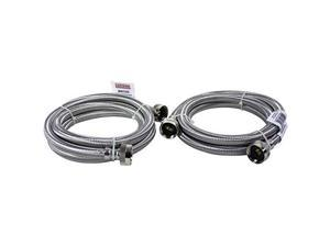 certified appliance accessories certified appliance 77505 braided stainless steel washing machine connector kit, 6feet gray