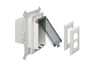 arlington dbvs1c1 low profile in box recessed outlet box wall plate kit for new vinyl siding construction, vertical, 1gang, clear