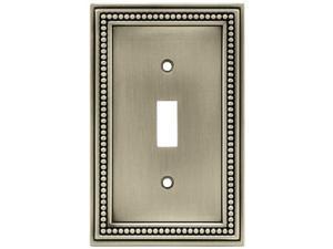 brainerd 64905 beaded single toggle switch wall plate / switch plate / cover, brushed satin pewter