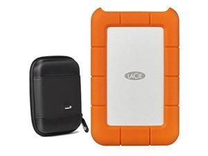 lacie rugged 2tb external portable hard drive  usb 3.0, usbc  stfr2000800 /stfr2000400  with ivation compact portable hard drive case small