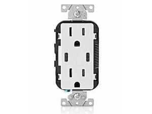 leviton t5635w usb dual typec with power delivery pd inwall charger with 15 amp, 125 volt tamperresistant outlet, white